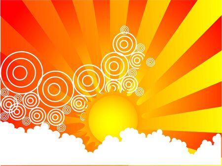nice sun on sunburst background
