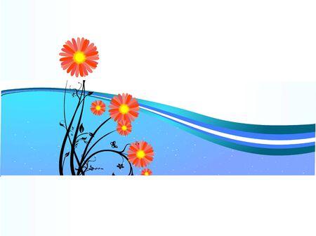 nice flowers on swirly background
