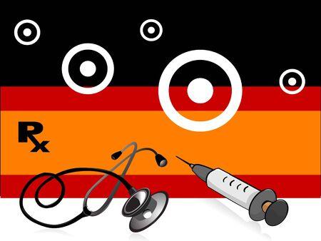 stethoscope and syringe on striped background   Imagens