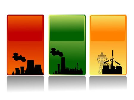 industrial area on striped background