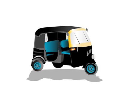 auto rickshaw: three wheeler on isolated background   Stock Photo