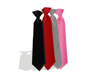 colorful ties on isolated background