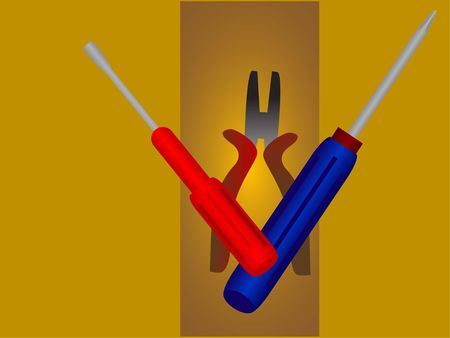 screwdrivers and plier on striped background