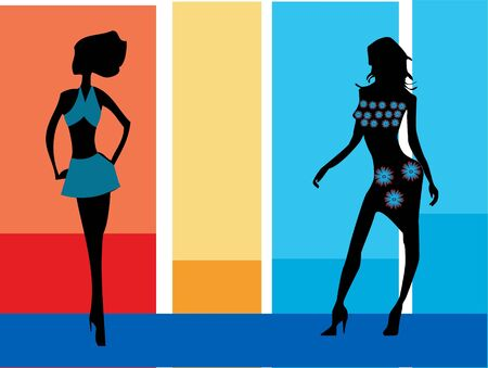 modelling: modelling ladies on striped background