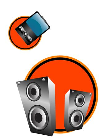 mp3 and sound boxes on abstract background  Stock Photo