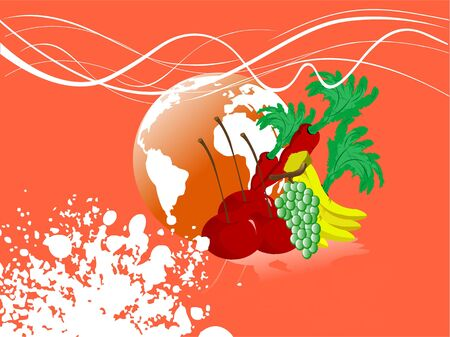 vegetables and globe on abstract background   Stock Photo