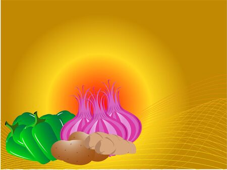 onion and capsicum on gradient background     Banco de Imagens