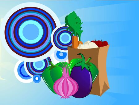 vegetables packet on circular background   Banco de Imagens