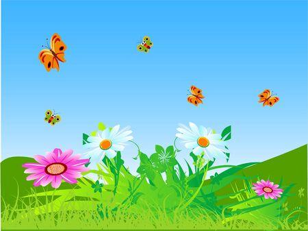butterflies flying over flowers in garden