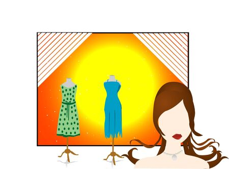 model and mannequins on isolated background