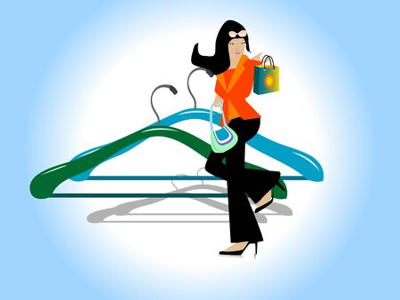 fashion design: hangers and stylish woman on gradient background   Stock Photo