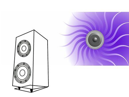 soundbox with woofer on swirly background