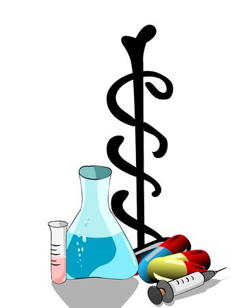 flask and medicine on isolated background   photo