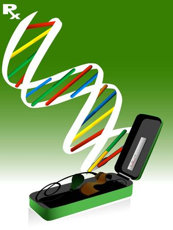 sphygmomanometer: sphygmomanometer and dna structure   Stock Photo