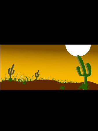 cactuses and grass on landscape     photo