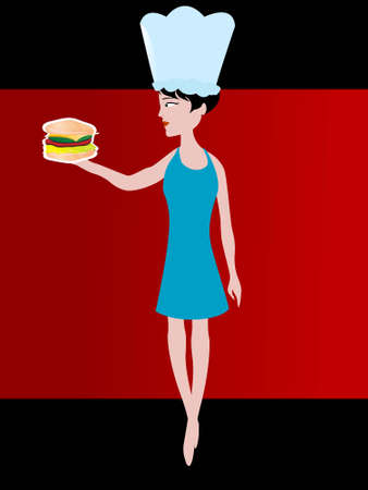 lady serving cheese burger   photo