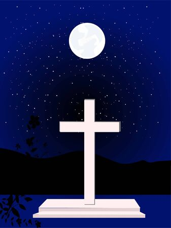 cross with moon and stars at night     photo
