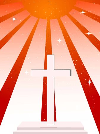 cross on sunburst background   photo