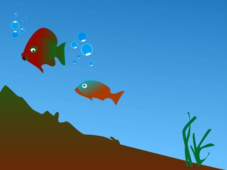 fishes: fishes in ocean with bubbles     Stock Photo
