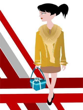 handbag model: lady walking with hand bag