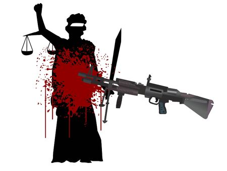 Dame van de recht spraak en pistool op geïsoleerde achtergrond  Stockfoto - 3307418