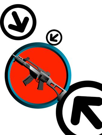 violent: machine gun on circular background