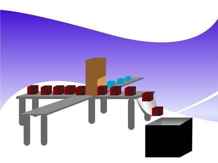 assembly line: assembly line on swirly background   Stock Photo