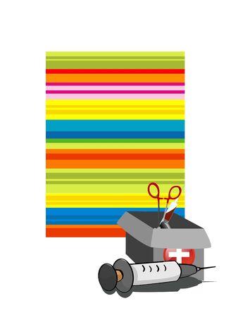 syringe and box on striped background