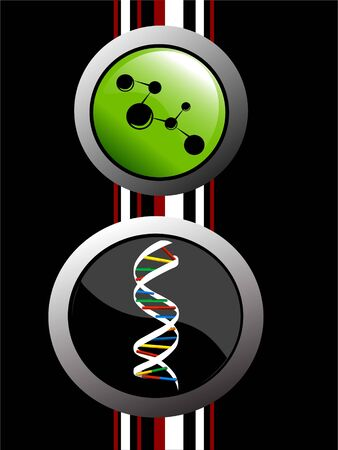 dna structure and particle bonding in circular background   photo