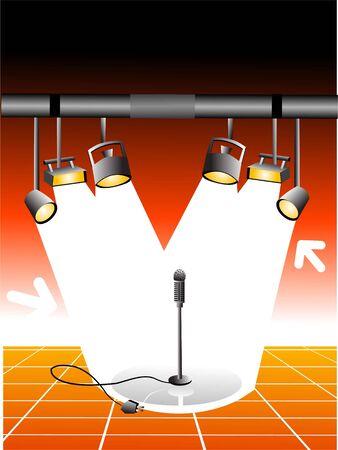 Flash lichten met mike en de stekker op de achtergrond van de kleur overgang   Stockfoto - 3309147