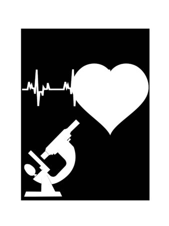 medical equipment: microscope and heart on dark background
