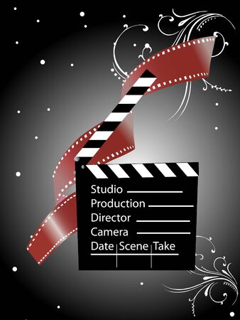 film industry: clapper board and negative on floral gradient background
