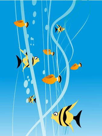 fishes: fishes and bubbles with swirly background