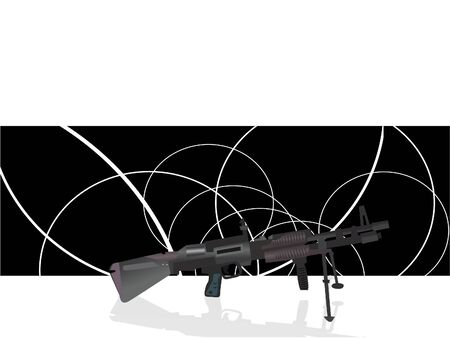 sten gun  on swirly background