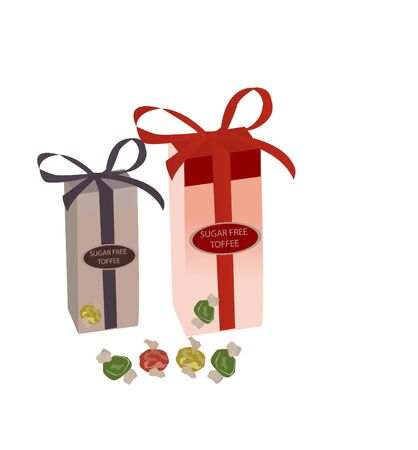 wrapped toffee pack on isolated background