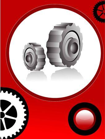 cogwheels in circular background