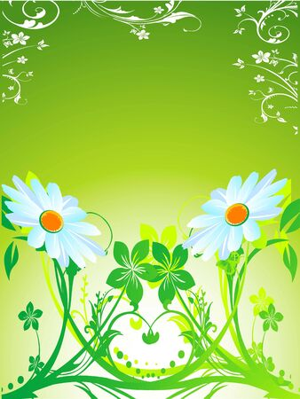 waving flowers on floral gradient background     photo