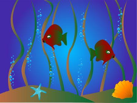 vissen en fauna op de helling backgroound Stockfoto
