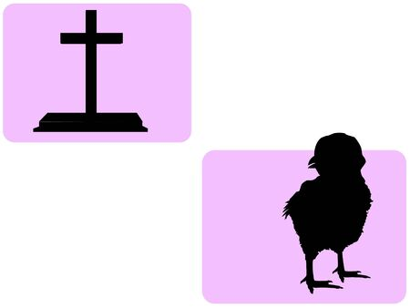 chick and cross on abstract backgroundrnrn photo