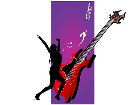 vrouw genieten met gitaar