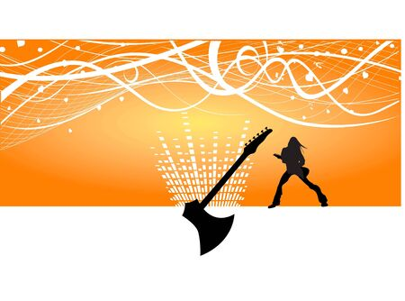 lady with guitar on swirly text template background   Stok Fotoğraf