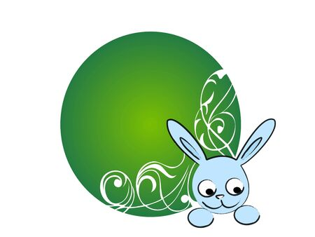 easter bunny on floral background     photo