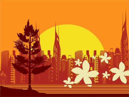 cityscape scene with buildings and flowers