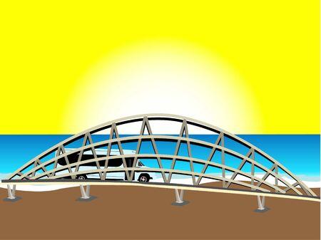 brug en voer tuig in de buurt van zee   Stockfoto