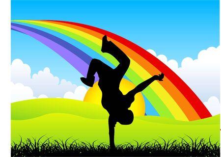 man over rainbow on landscape