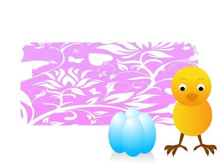 easter kuiken met versierde eieren Stockfoto