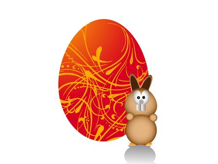Easter Bunny op floral background