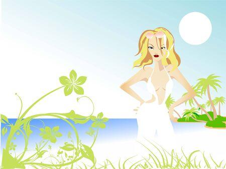 dame op eenzaam eiland vlakbij zee Stockfoto
