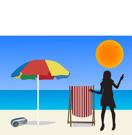 woman on beach with beach goods     photo