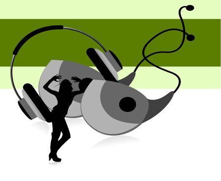 earphone: headphone and earphone on striped background